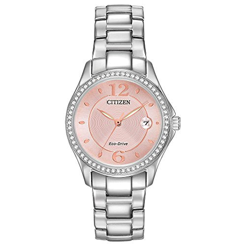 Citizen Silhouette Crystal Eco-Drive Pink Dial Diamond Ladies Watch FE1140-86X