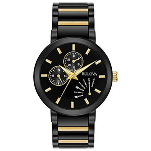 Bulova Futuro Men's Black Gold Accent Black Dial Modern Watch 98C124