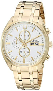 Bulova Classic Men's Gold Chronograph White Dial Classic Watch 97C109