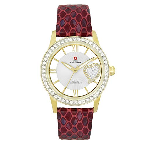 Swiss Mountaineer Women's Red Genuine Leather Strap Watch SM2291