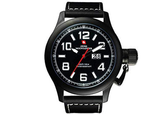 Swiss Mountaineer Mens Black Genuine Leather Strap Watch SM1404