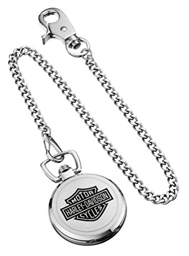 Harley-Davidson Men's Bar & Shield Stainless Steel Pocket Watch w/Chain 76A165