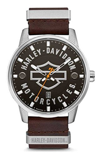 Harley-Davidson Black Dial Stainless Steel Leather Watch 76B178