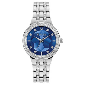 Bulova Crystal Ladies Silver Tone with Blue Dial Watch (Model: 96L276)