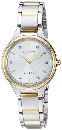 Citizen Women's 'Eco-Drive' Quartz Stainless Steel Dress Watch, Color:Two Tone (Model: FE2104-50A)