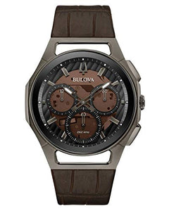 Men's Bulova Curv Chronograph Brown Leather Strap Watch 98A231
