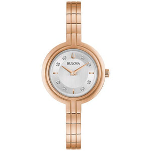 Bulova Rhapsody Women's White Dial Rose Gold Diamond Accent Watch 97P145