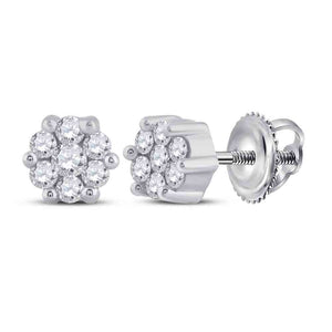 10kt White Gold Womens Round Diamond Flower Cluster Earrings 1/6 Cttw