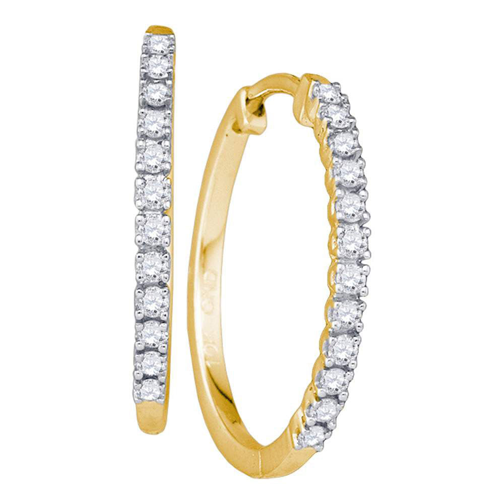 10k Yellow Gold Womens Round Diamond Slender Single Row Hoop Earrings 1/4 Cttw