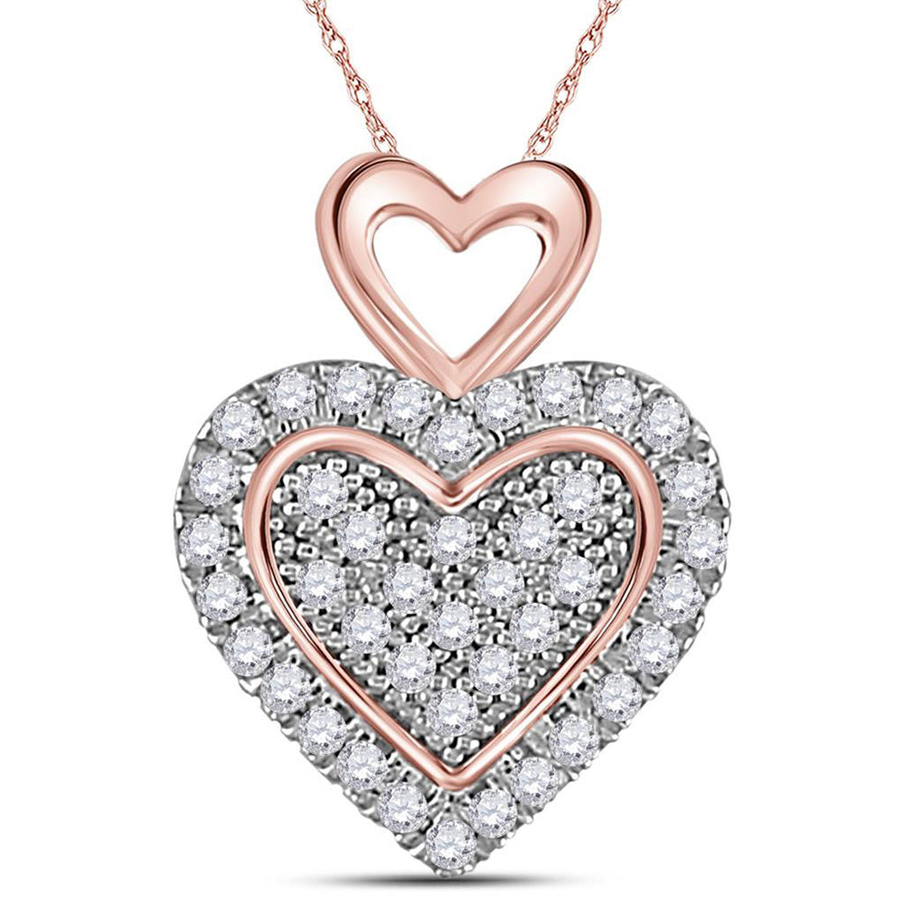 10kt Two-tone Gold Womens Round Diamond Heart Pendant 1/6 Cttw