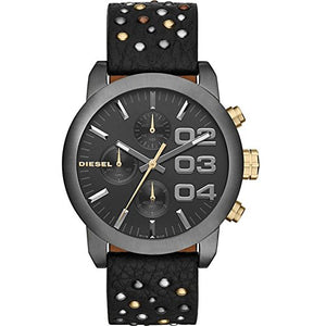 Diesel dz5432 46mm Stainless Steel Case Black Calfskin Mineral Men's & Women's Watch