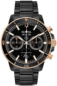 Bulova Men's Dress Style Marine Star Collection Black Dial Watch (Model: 98B302)