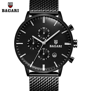 BAGARI New Watch Men's Black Mesh Stainless Steel Band with Quartz Watch #1821W
