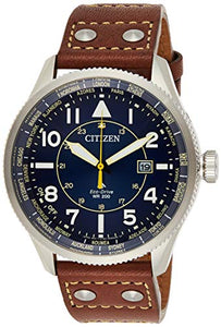 Citizen Men's Eco-Drive Stainless Steel Quartz Aviator Watch with Leather Calfskin Strap, Brown, 22 (Model: BX1010-11L)