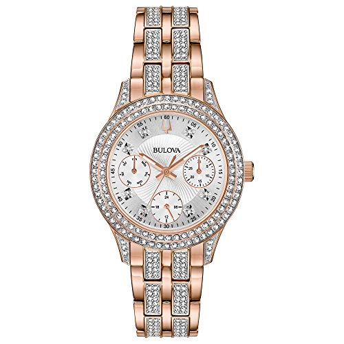 Bulova Crystal Women's Rose Gold White Dial Classic Watch 98N113