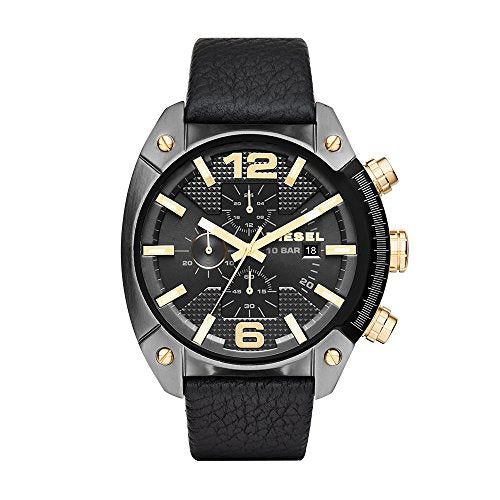 Diesel Men's DZ4375 Overflow Gunmetal Black Leather Watch