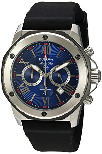 Bulova Marine Star Men's Blue Dial Black IP Chronograph Watch 98B258