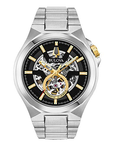Bulova Maquina Men's Silver Gold Tone Black Dial Automatic Watch 98A224