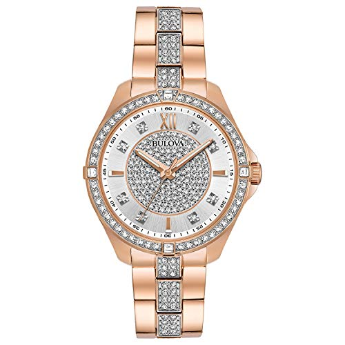 Bulova Women's Quartz Stainless Steel Casual Watch, Color:Rose Gold-Toned (Model: 98L229)