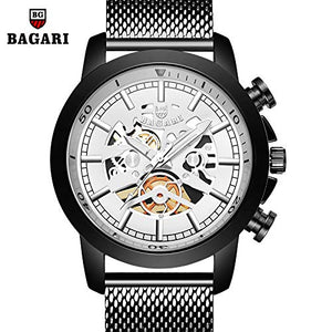 BAGARI New Watch Men's Black Mesh Stainless Steel Band with Quartz Watch #1687W