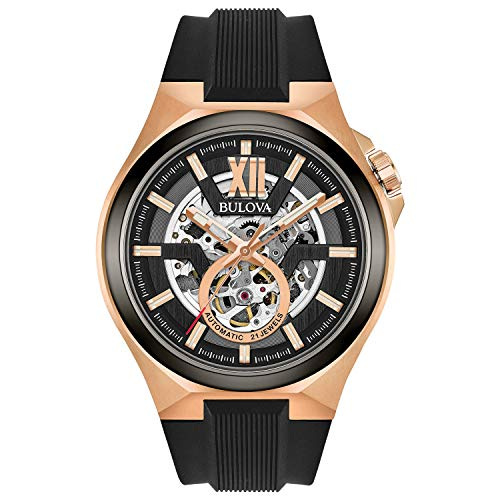 Bulova Maquina Men's Rose Gold Black Automatic Classic Watch 98A177