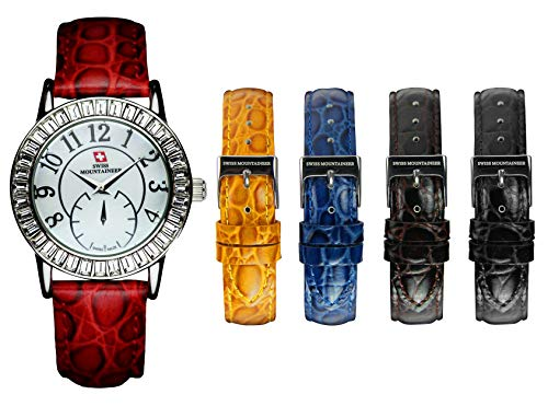 Swiss Mountaineer Womens Interchangeable Genuine Croco Strap Watch SM1281