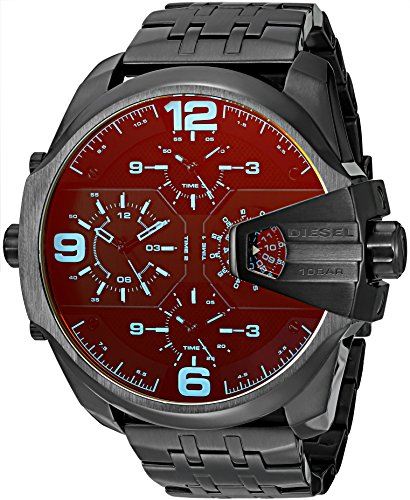 Diesel Men's DZ7377 Uber Chief Gunmetal Black Leather Watch