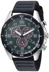 Citizen Men's Eco-Drive Stainless Steel Japanese-Quartz Leather Calfskin Strap, Black, 21 Casual Watch (Model: AT2441-08X)