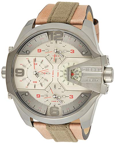 Diesel Men's Uber Chief Quartz Stainless Steel and Leather Casual Watch, Color:Green (Model: DZ7375)