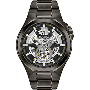 Bulova Maquina Black Dial Black Stainless Steel Watch 98A179