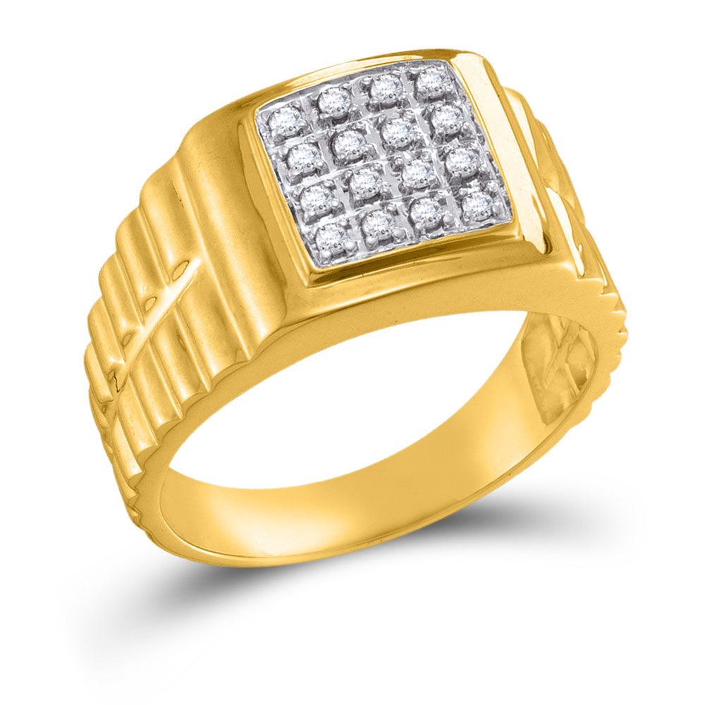 10k Yellow Gold Mens Ring Round Diamond Square 2-tone Cluster 1/4 Cttw