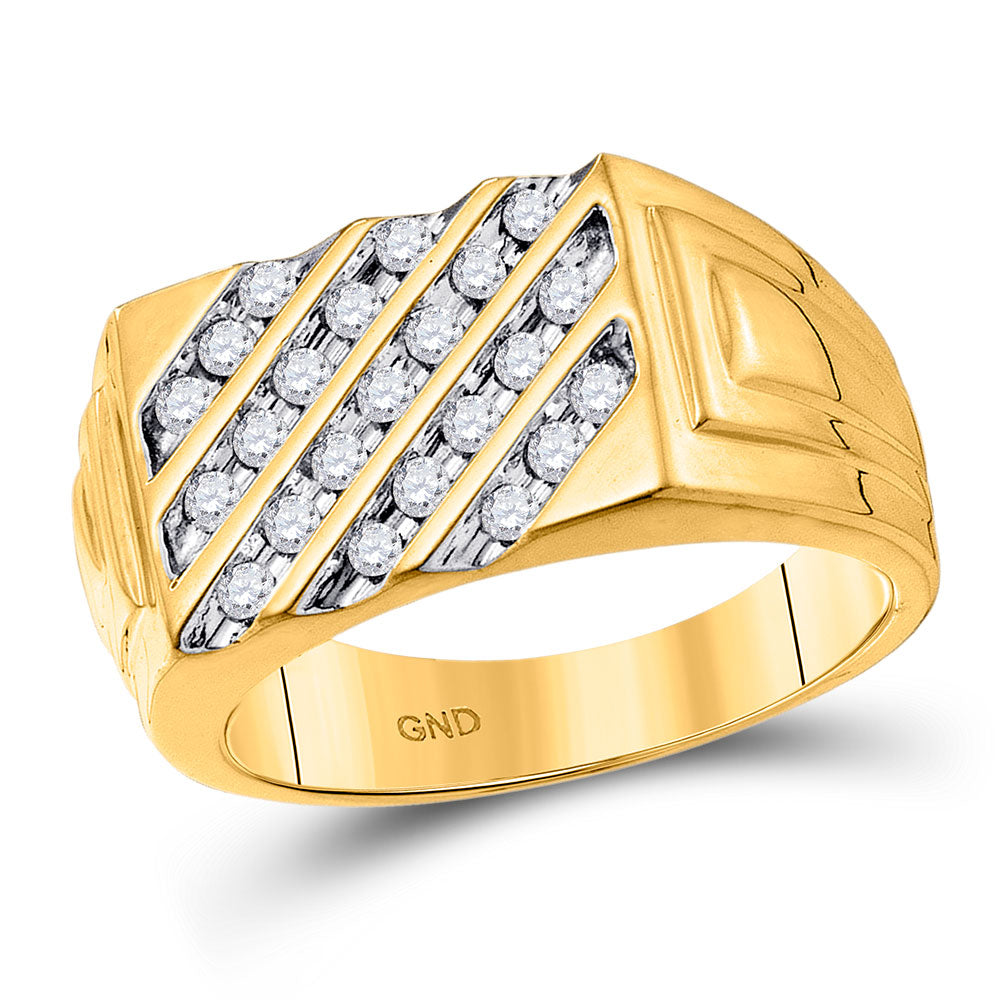 10k Yellow Gold Mens Ring Round Channel-set Diamond Diagonal Stripe Band 1/2 Cttw