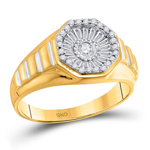 14k Yellow Gold Mens Ring  Round Diamond Two-tone Concave Cluster Ribbed 1/2 Cttw