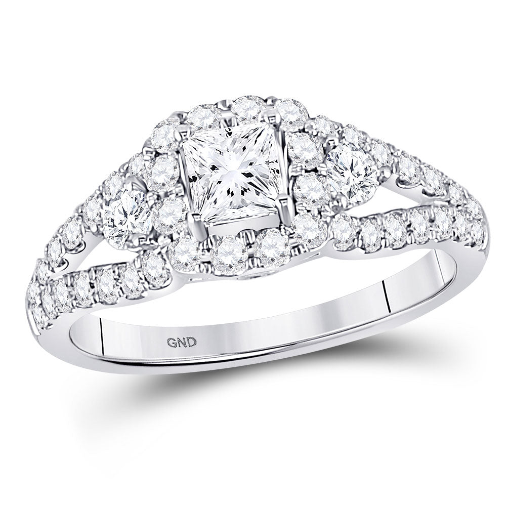 14kt White Gold Princess Diamond Halo Wedding Engagement Ring 1-1/4 Ctw
