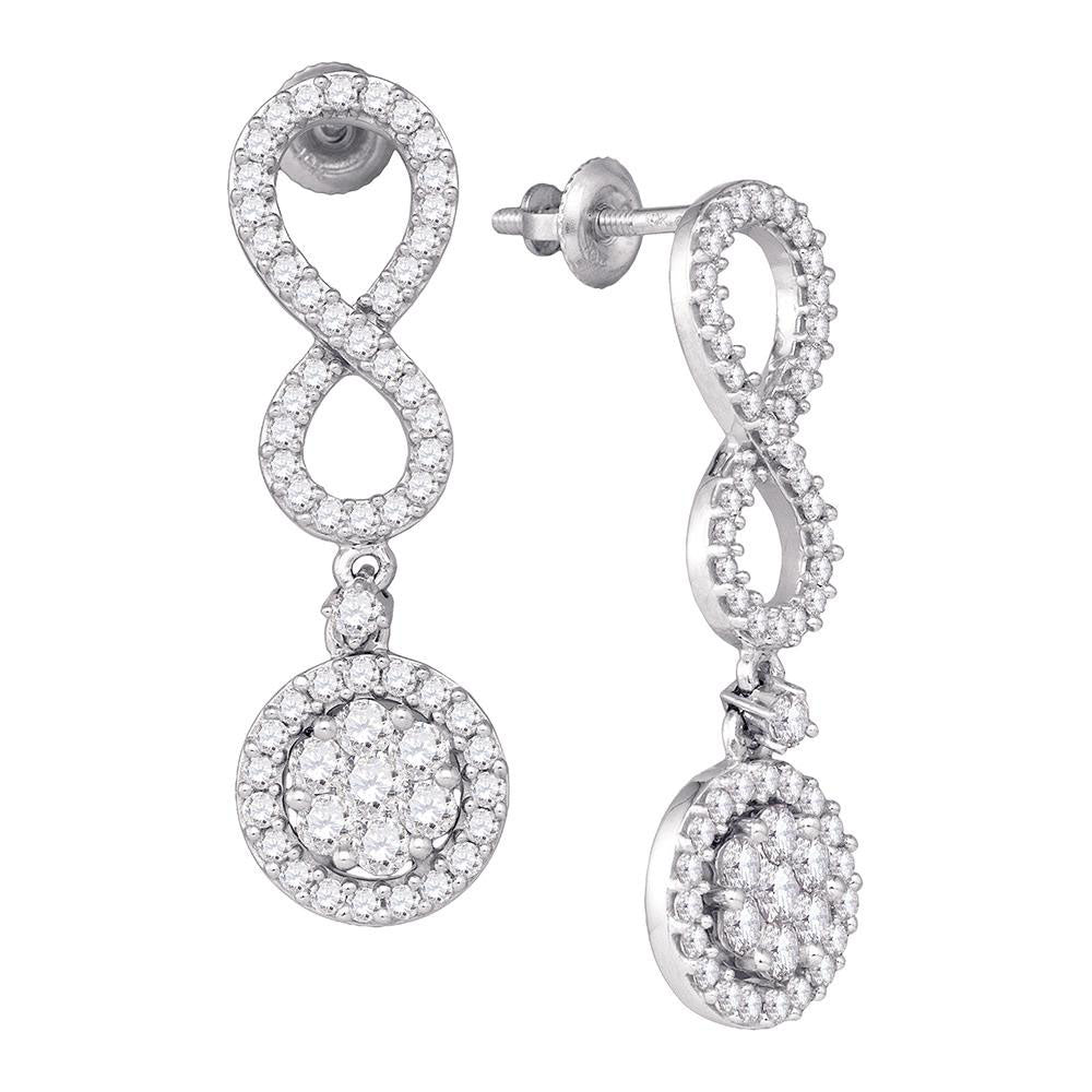10k White Gold Round Diamond Cluster Infinity Dangle Earrings 1-1/4 Ctw