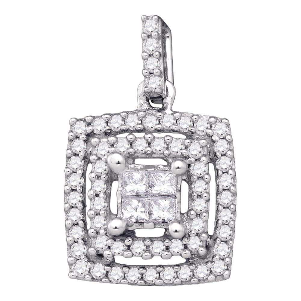 14k White Gold Womens Princess Diamond Square Cluster Pendant 1/3 Cttw