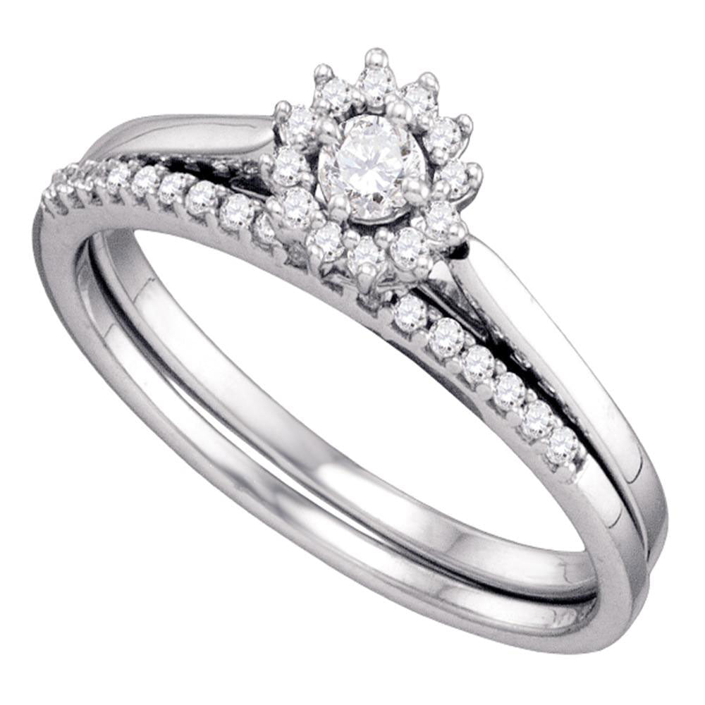 10k White Gold Round Diamond Halo Wedding Bridal Ring Set 1/4 Cttw