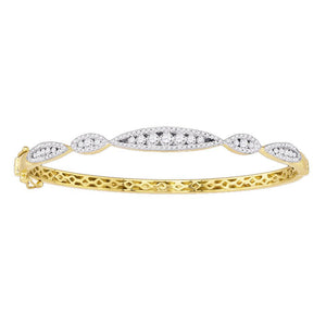 10k Yellow Gold Womens Round Diamond Bangle Fashion Bracelet 1 Cttw