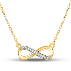 10k Yellow Gold Round Diamond Infinity Fashion Necklace Pendant Love