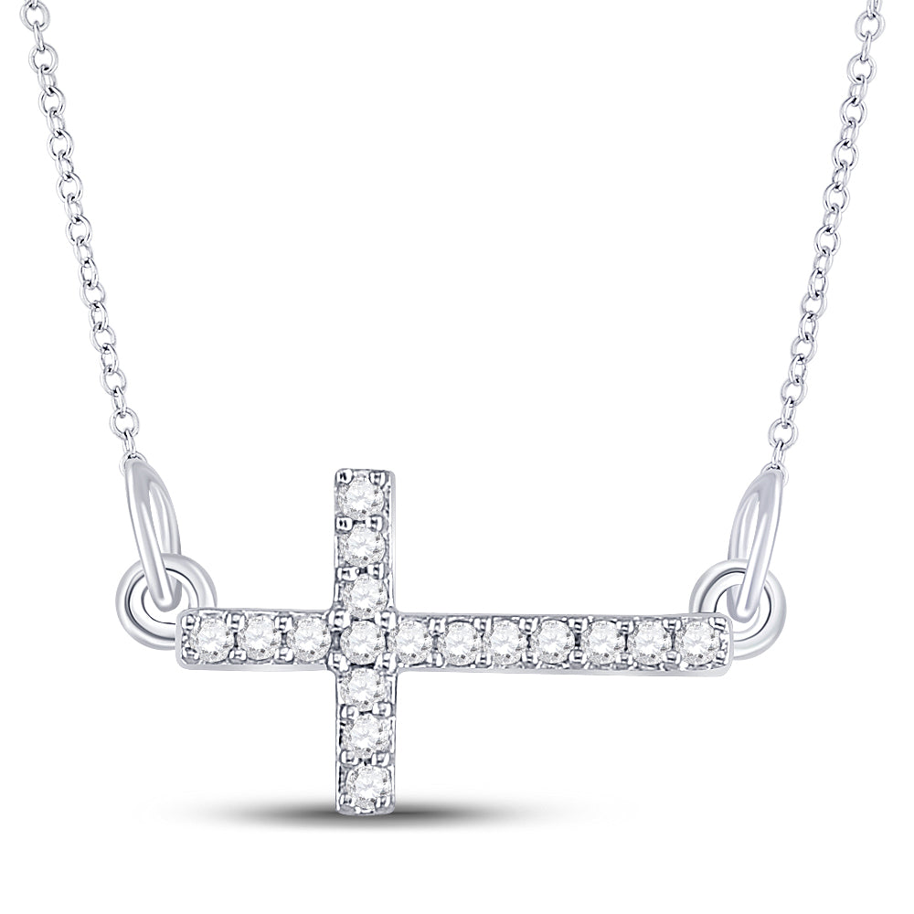 Sterling Silver Womens Round Diamond Horizontal Sideways Cross Necklace 1/10 Ctw