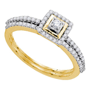 10kt Yellow Gold Round Diamond Slender Bridal Wedding Ring Band Set 1/3 Cttw