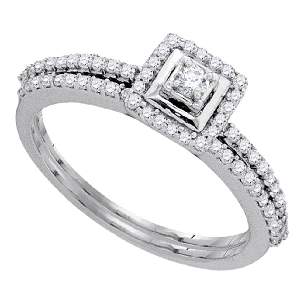 10k White Gold Round Diamond Bridal Wedding Ring Band Set 1/3 Ctw