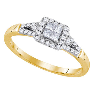 14k Yellow Gold Princess Diamond Square Frame Cluster Ring 1/3 Cttw