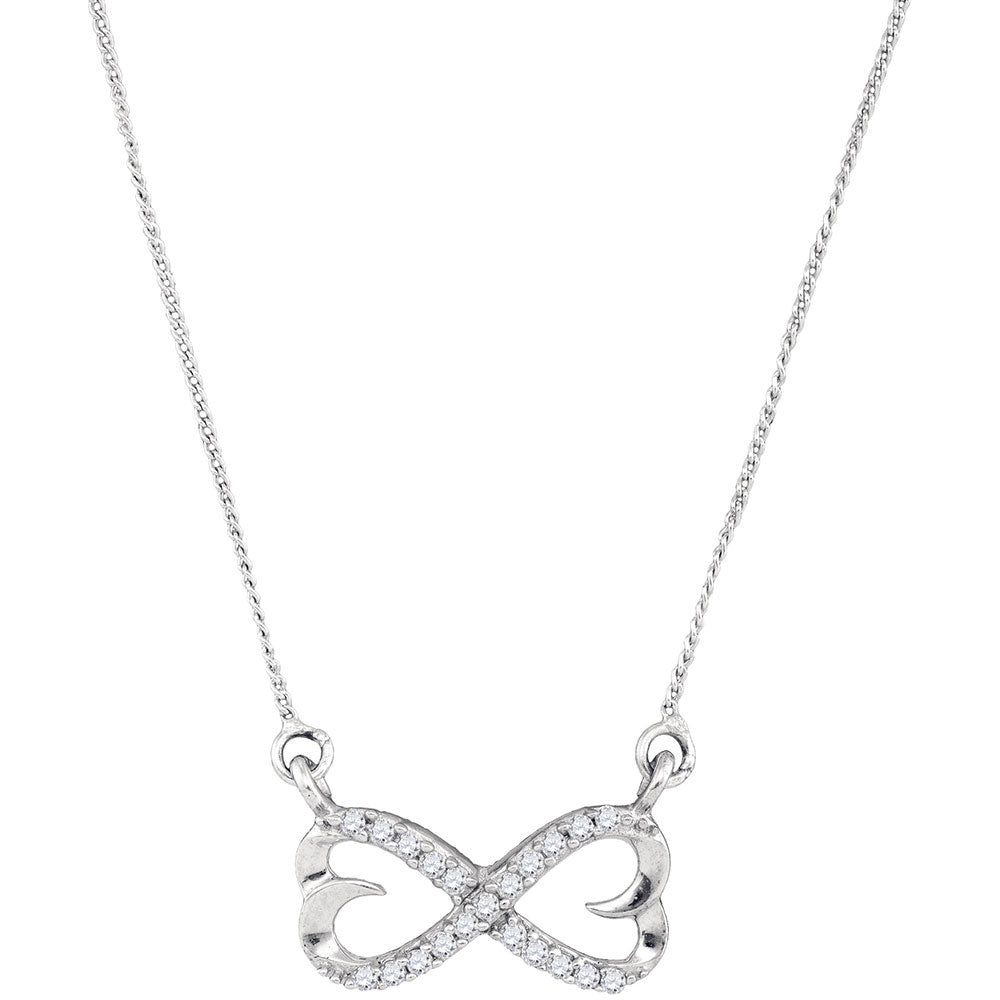 Sterling Silver Womens Round Diamond Infinity Double Heart Pendant Necklace