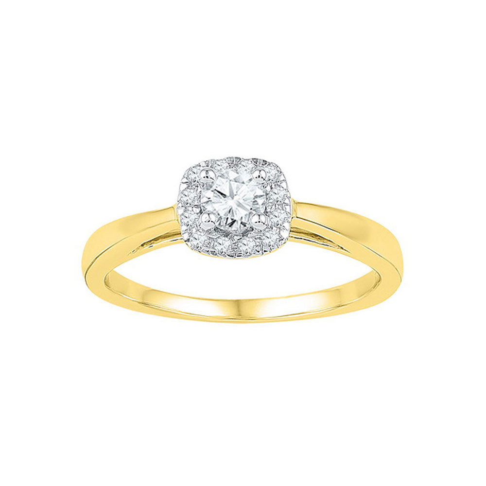 10kt Yellow Gold Round Diamond Halo Wedding Engagement Ring 1/3 Cttw