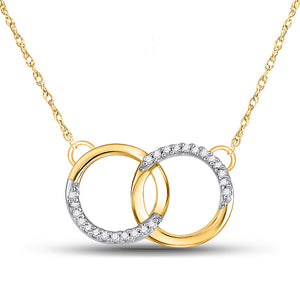 10k Yellow Gold Womens Round Diamond Interlocking Double Circle Pendant Necklace 1/10 Cttw