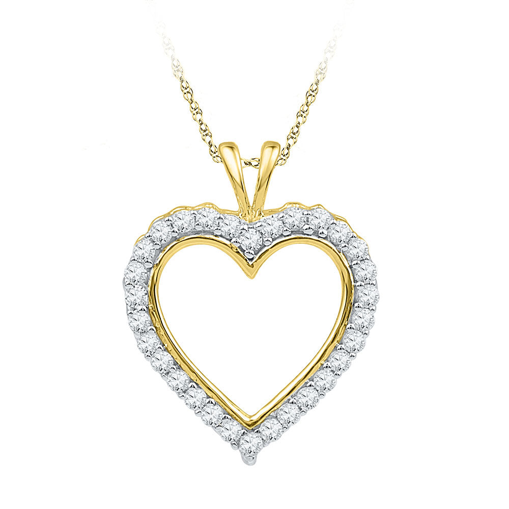 10k Yellow Gold Womens Round Diamond Heart Outline Pendant 1/4 Cttw