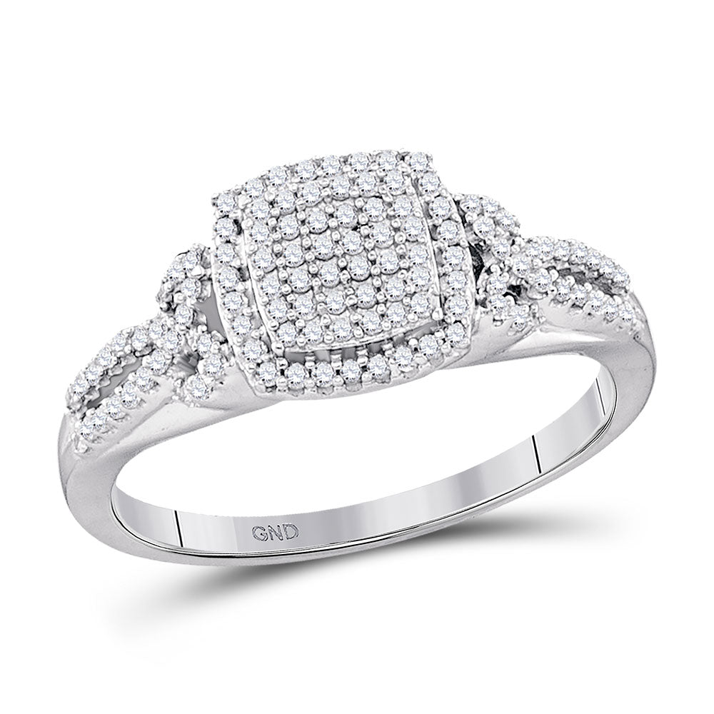 10k White Gold Round Diamond Square Cluster Wedding Engagement Ring 1/3
