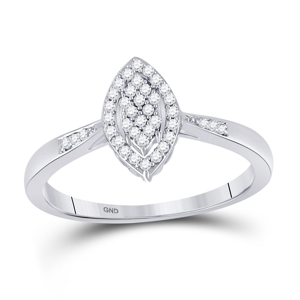 10kt White Gold Womens Round Diamond Oval Cluster Promise Ring 1/8 Cttw
