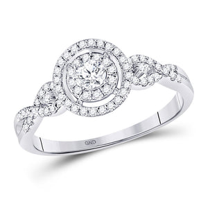 10kt White Gold Round Diamond Solitaire Wedding Engagement Ring 3/8 Ctw